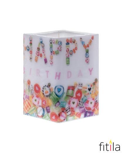 """Motivkerze """"Happy Birthday"""""""